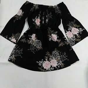 Black with flowers printing Top and Dress